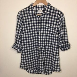 J. Crew Navy & White Gingham Button-Down Medium